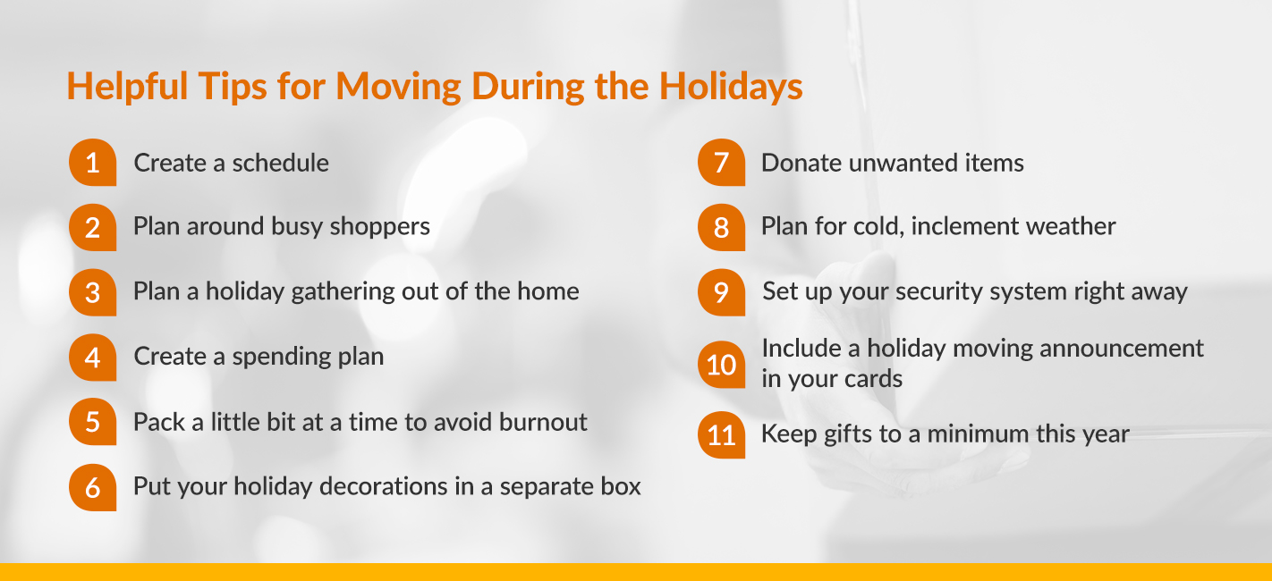 Helpful Tips for Moving During the Holidays (numbered list explained in next paragraph)